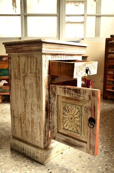Reclaimed Wood Carving Bed side, Bedroom Furniture