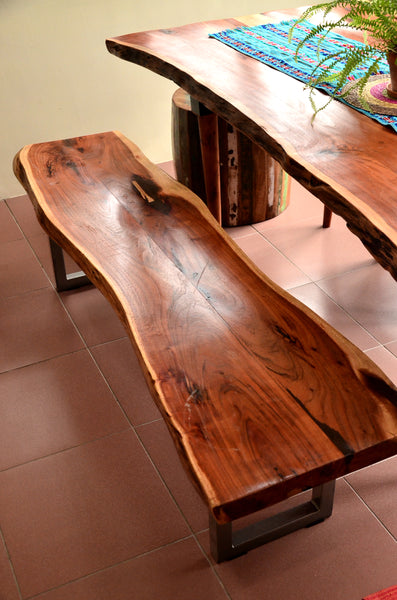 Acacia Live Edge Wood Dinner table Bench