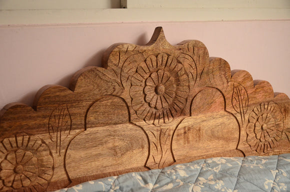 Reclaimed Wood Bed Hand craving , Bedroom Furniture