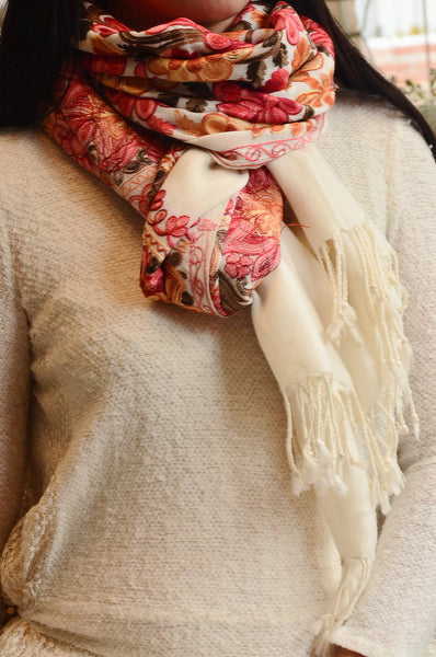Style 1:Jama Pure Pashmina Scarf / Stole, hand embroidered , handloom, Fairtrade