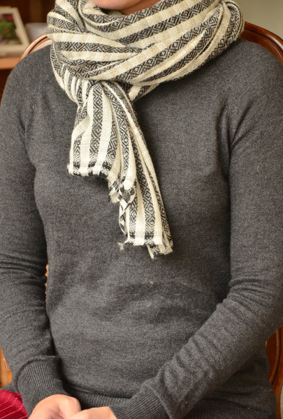 100% Cashmere Natural Check Scarf/Stole,  Fairtrade