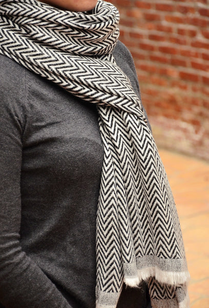 100% Cashmere Check Scarf/Stole,  Fairtrade