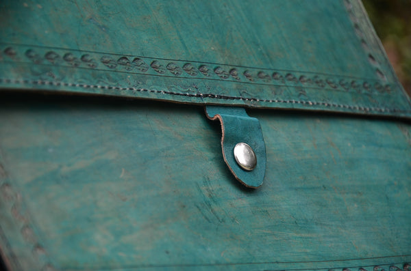 Green Leather Journal Cover, Hand stitched & Hole Punch Folder Cover, Vintage Style