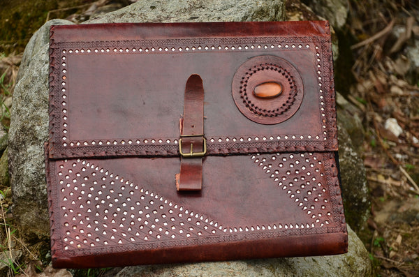 Leather Journal Cover, Hand stitched & Hole Punch Folder Cover, Vintage Style