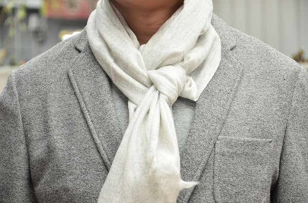 100% Cashmere Natural Check Muffler Scarf, Unisex Lightweight  Scarf, Fairtrade