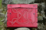 LeatherLaptop Case/Messenger Bag , Ethnic Red Hand stitched & Hole Punch, Vintage Style,   織途  , Om Ethnic Handicraft , macrame