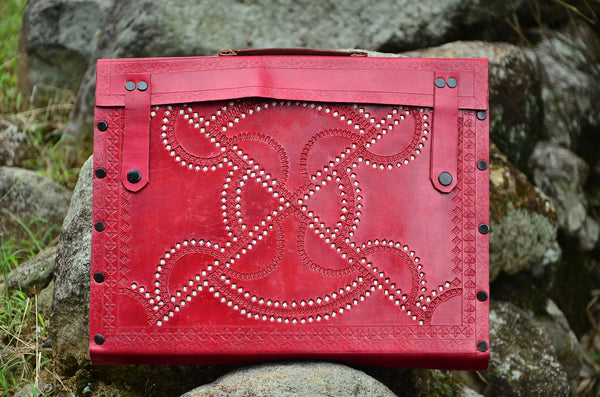 LeatherLaptop Case/Messenger Bag , Ethnic Red Hand stitched & Hole Punch, Vintage Style