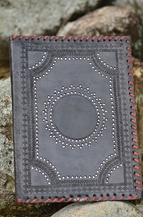 Leather Journal Cover / A4 Folder , Ethnic Black Hand stitched & Hole Punch Folder,   織途  , Om Ethnic Handicraft , macrame