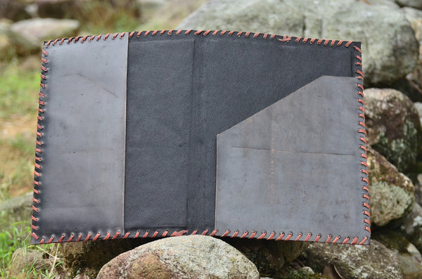 Leather Journal Cover / A4 Folder , Ethnic Black Hand stitched & Hole Punch Folder