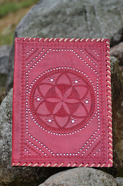 Leather Journal Cover / A4 Folder , Ethnic Red Hand stitched & Hole Punch Folder , Vintage Style