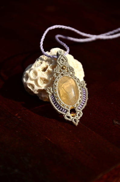 Citrine Necklace,Macrame Necklace