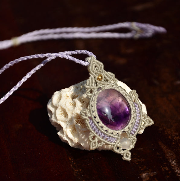Amethyst Necklace, Macrame Jewelry