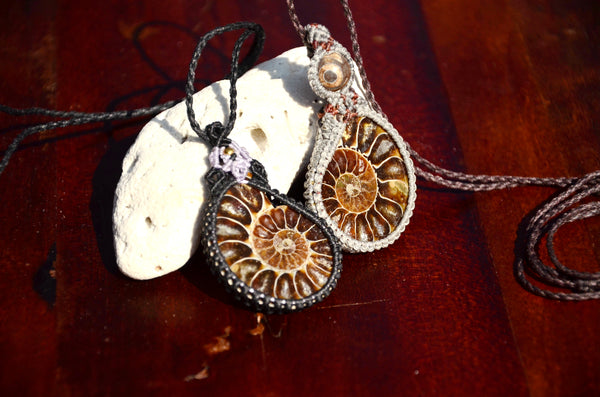 Ammonite Fossil Necklace set, 2 pieces, Macrame Jewellery,