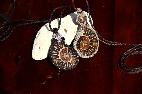 Ammonite Fossil Necklace, Macrame Jewellery,