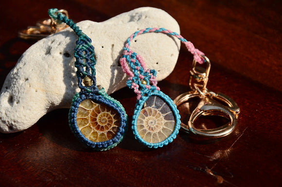Ammonite Fossil pendant, Key / Cellphone chain, Macrame Jewellery