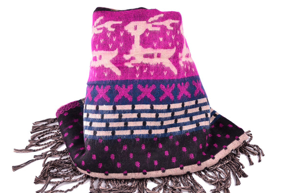 Christmas Wool Purple Scarf, Winter Double side Shawl, Christmas gift - Om Ethnic Handicraft