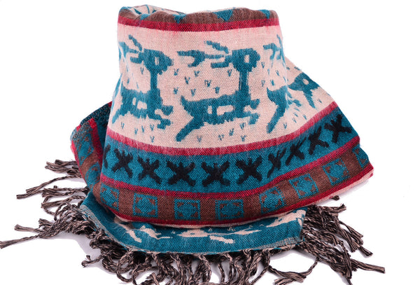 Christmas Wool Blue Scarf, Handmade Yak Shawl, Christmas gift - Om Ethnic Handicraft