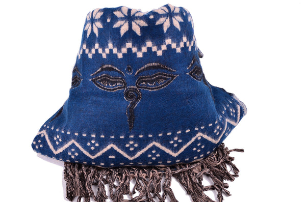 Buddha Eye Wool Scarf, Handmade Yak Shawl - Om Ethnic Handicraft