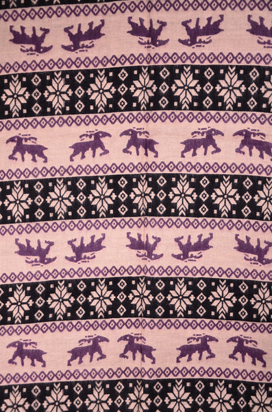 Christmas Wool Purple & Black Scarf, Big Blanket Scarf - Om Ethnic Handicraft