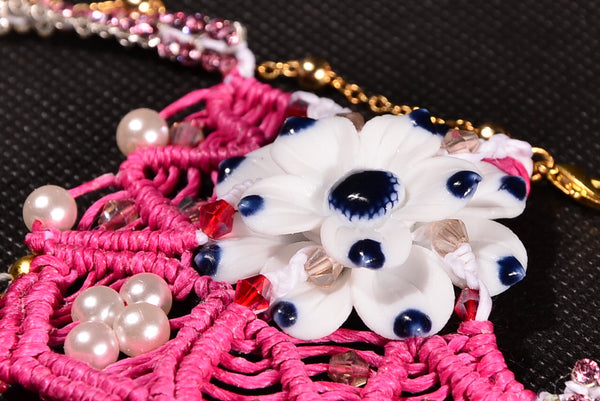 Valentine's Style, Blue & White Ceramic Macrame Jewellery, Pearl Swarovski Necklace