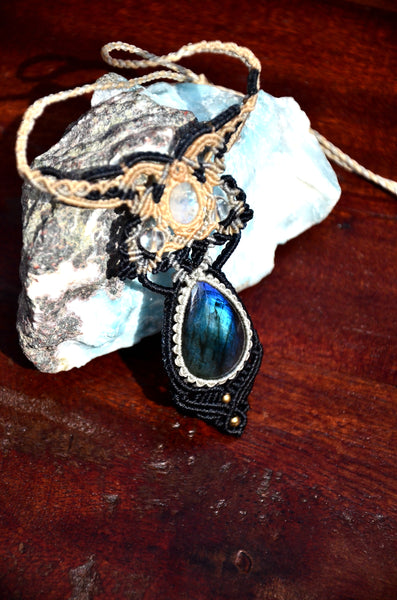 Moonstone, Labradorite  Macrame Jewelry, necklace