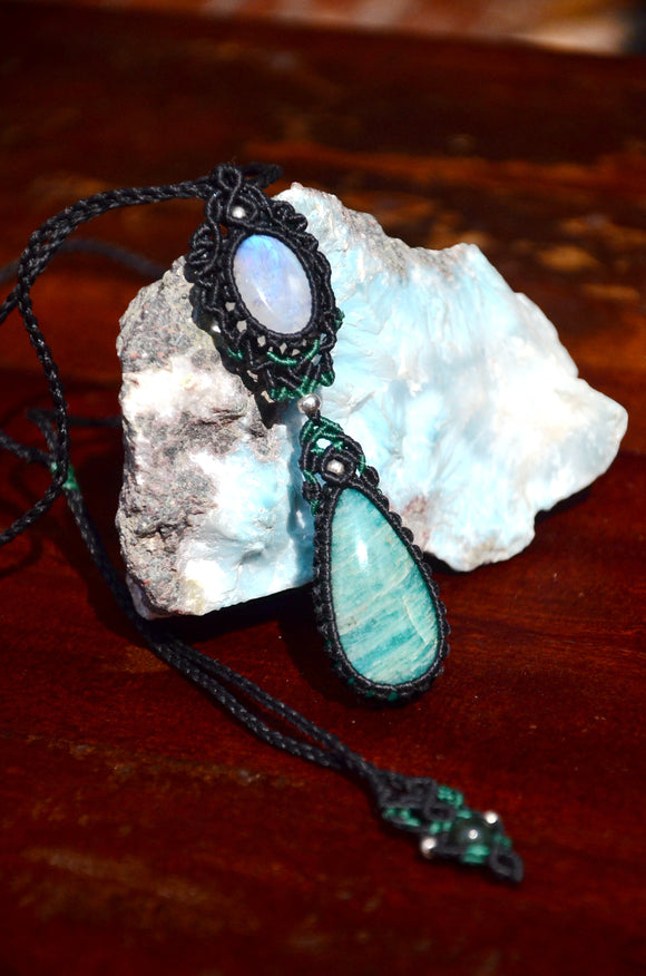 Moon stone & Amazonite Macrame Necklace