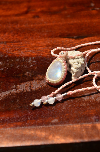 Moonstone Macrame Jewelry necklace