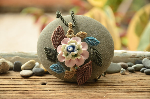 Flower Ceramic Macrame Jewellery