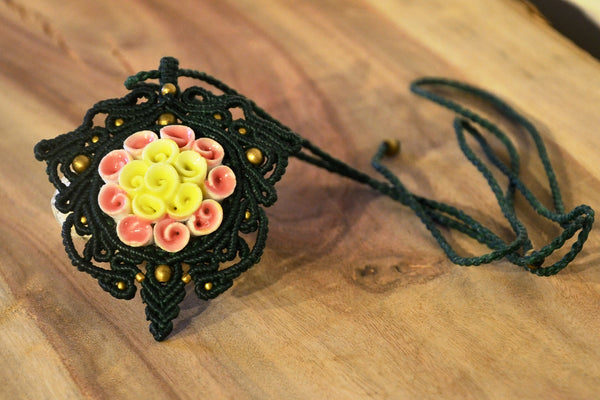 Tree of Life , Flower Ceramic Macrame Jewellery