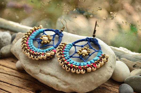 Dream Catacher Style Macrame Earrings