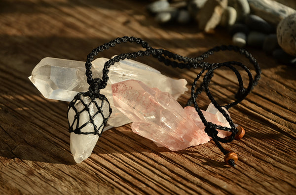 Raw Clear Quartz Crystal Macrame Pendant