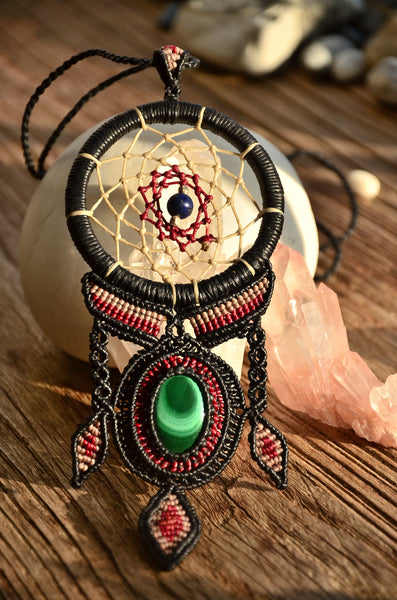Malachite Dream Catcher Style Macrame Jewelry