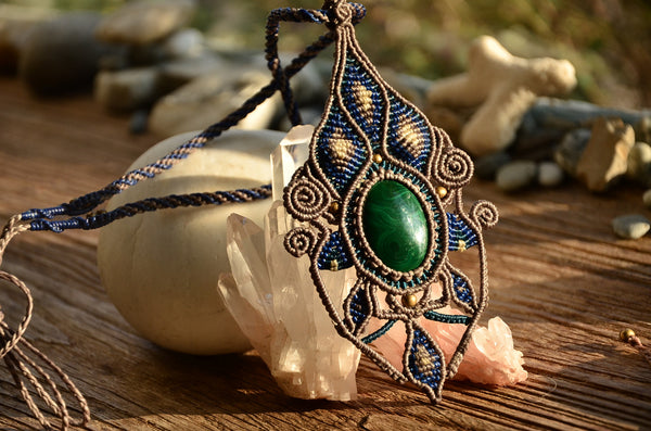 Malachite Egypt Style Macrame Jewelry