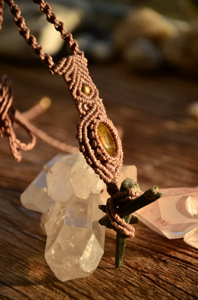 Unique Raw Moss Agate & Tiger Eye Macrame Pendant
