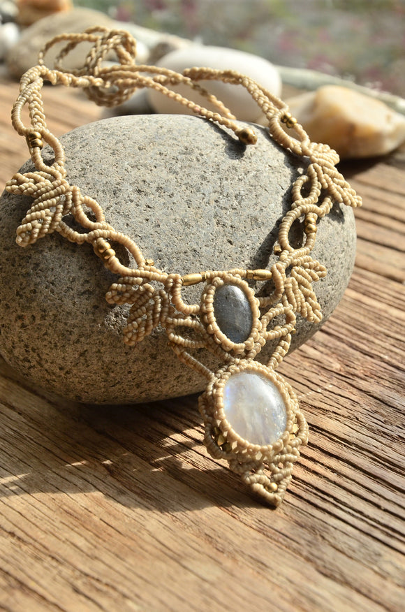 Moonstone Macrame Jewelry,   織途  , Om Ethnic Handicraft , macrame