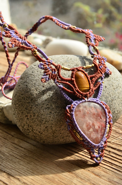 SunStone & Tiger Eye Macrame Jewelry
