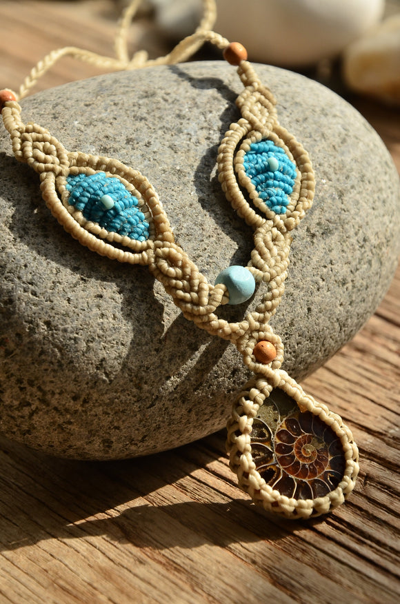 Ammonite Fossil Macrame Jewellery,   織途  , Om Ethnic Handicraft , macrame