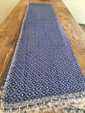 100% Superfine Cashmere Thick Blue Double Side Scarf/Stole, Fairtrade,   織途  , Om Ethnic Handicraft , macrame