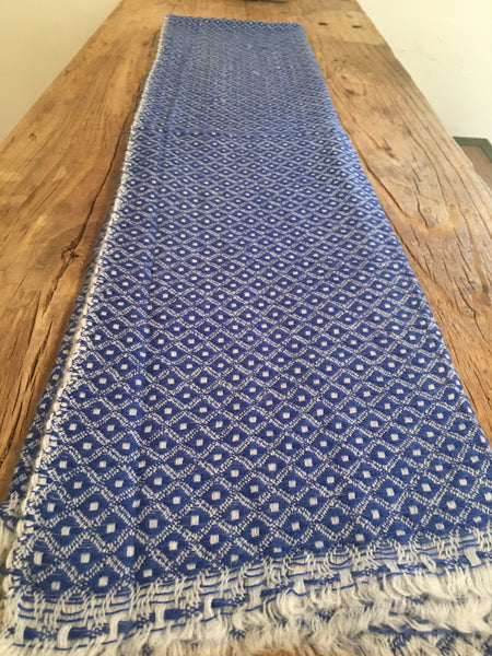 100% Superfine Cashmere Thick Blue Double Side Scarf/Stole, Fairtrade