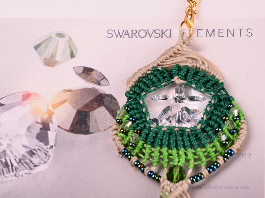 Swarovski  Macrame Necklace, Crystal Jewelry
