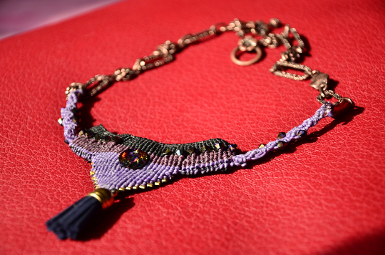 Vintage Costume Macrame Jewelry, Swarovski Crystal Necklace