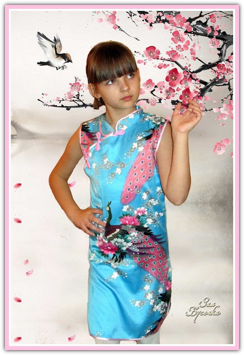 Retro Chinese Peacock Dress (Toddler & Little Girls)