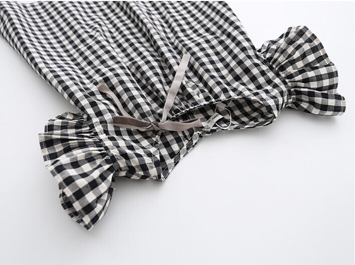 Black & White Plaid Dress With Puff Sleeve (3T-7X)