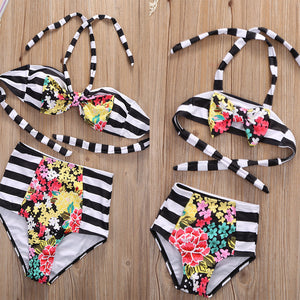 Mother & Daughter Matching Striped Swimsuit