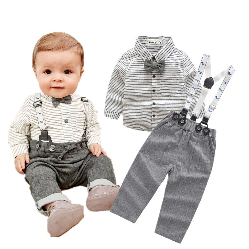Gentlemen Striped Shirts & Overalls, Baby & Little Boys 3M 24M