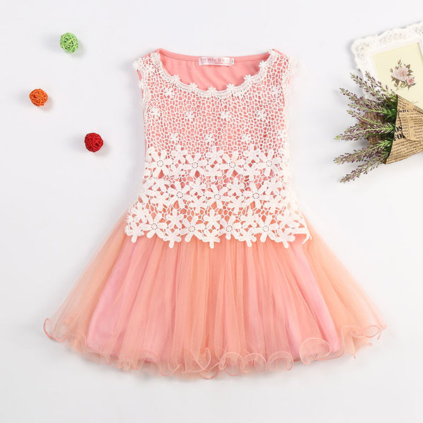 Tutu Flower Princess Birthday Party Wedding Lace Dress For Toddler and Baby Girl