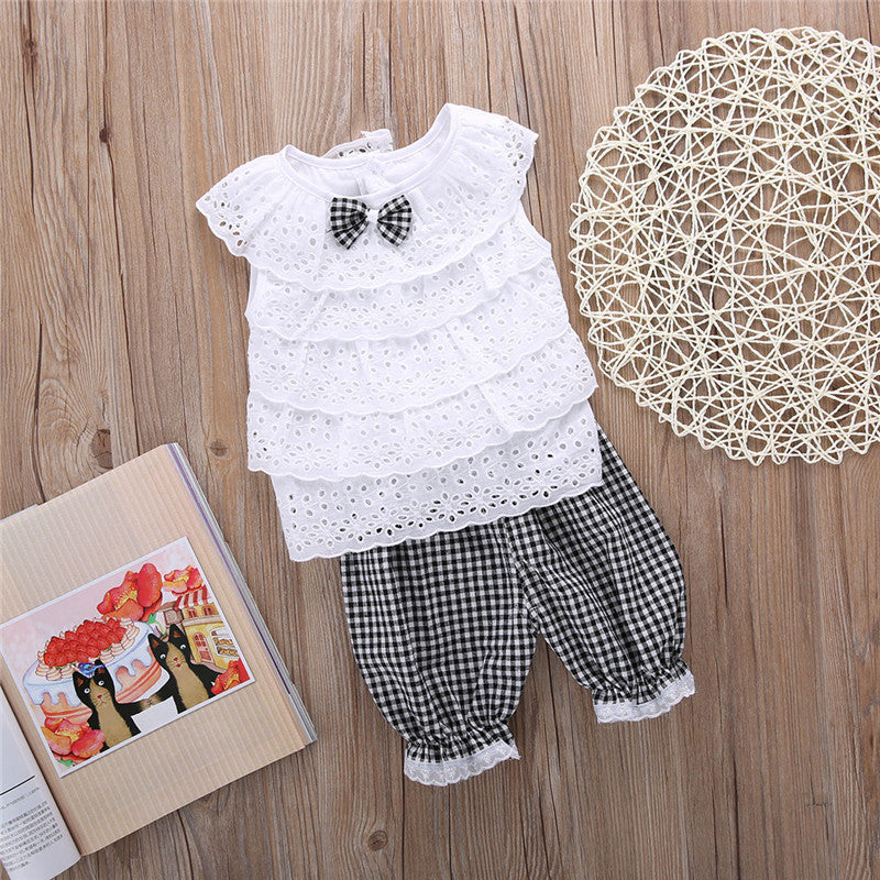 2PCS Lace Plaid Top & Pant Set