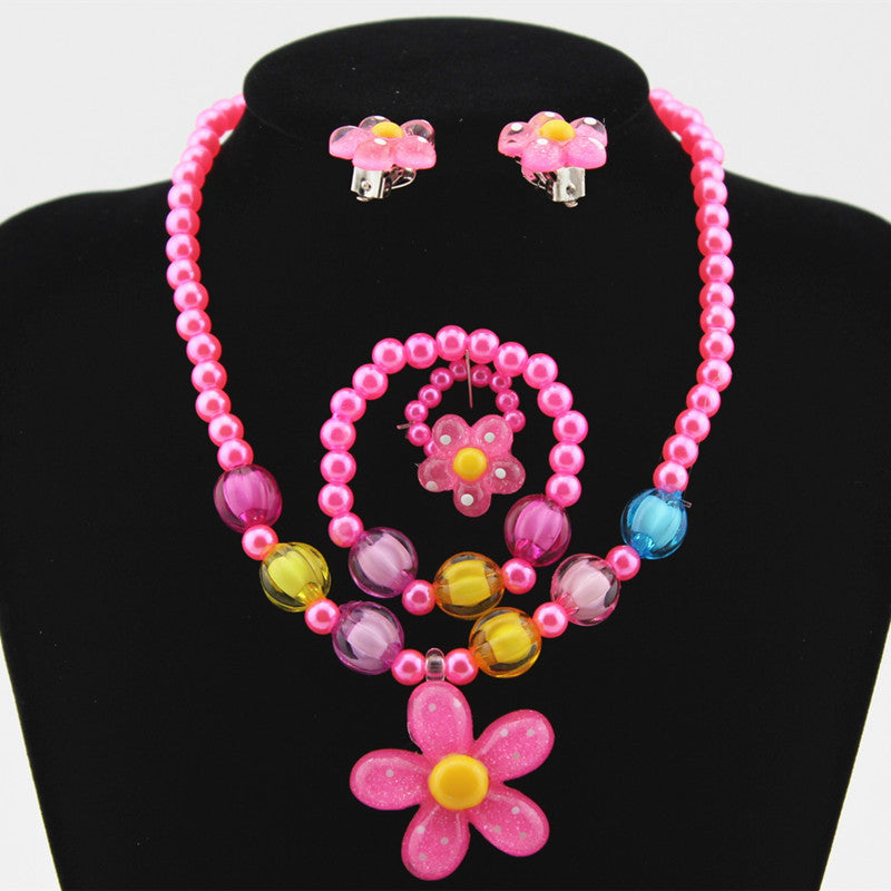 Imitation Pearls Beaded Sun Flower Necklace, Bracelet, Ring And Earring Set
