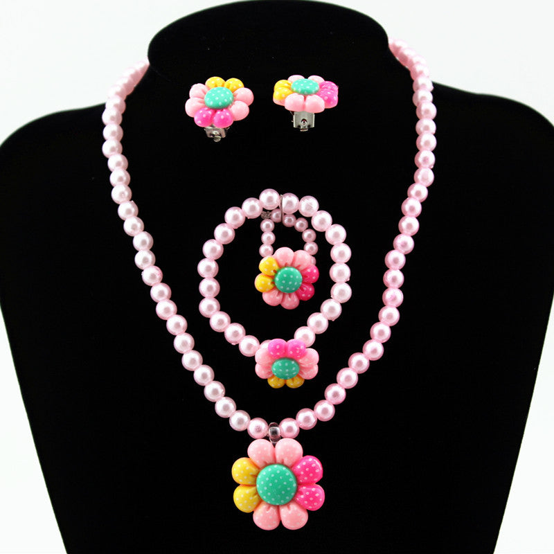 Cute Imitation Pearls Necklace/Bracelet/Ring/Earring Sun Flower Set