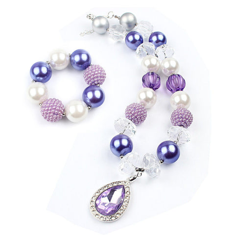 Chunky Purple Necklace & Bracelet Set